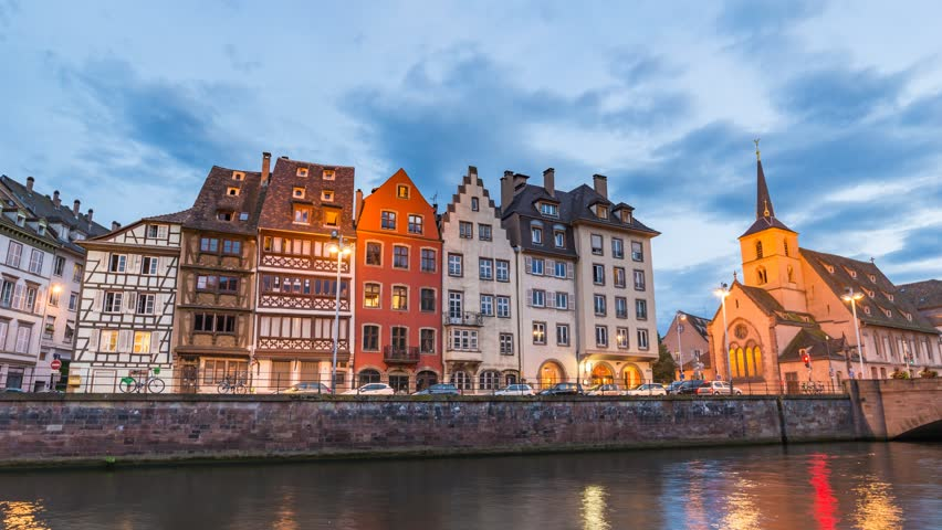 Strasbourg Half Timber House city skyline day to night timelapse, Strasbourg, France 4K Time lapse