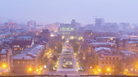 Day to night timelapse of Yerevan city. Armenia.
