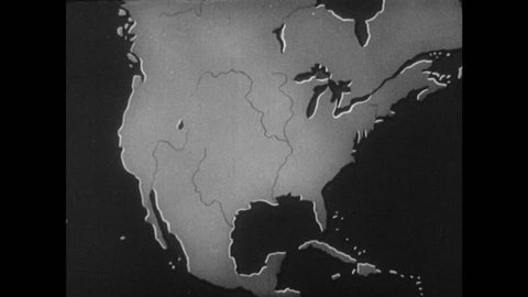 1940s: Map of North America. Numbers appear over map of United States. Illustrations of people appear over eastern section of United States map.