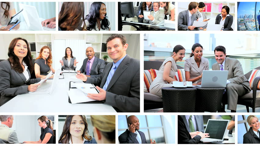 Montage collection of young Multi Ethnic business people using modern wireless tablet communication technology