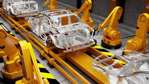 Moving transporter of conveyor belt with frameworks of unfinished cars and robots welders, back view. Loopable elements