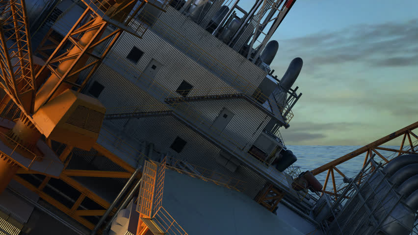 02995 Oil Rig accident. Collapsed Oil Platform. Lifeboats waiting for rescue.
