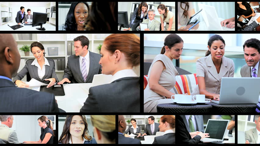 Montage collection of young Multi Ethnic business people using modern wireless tablet communication technology | Shutterstock HD Video #3326042