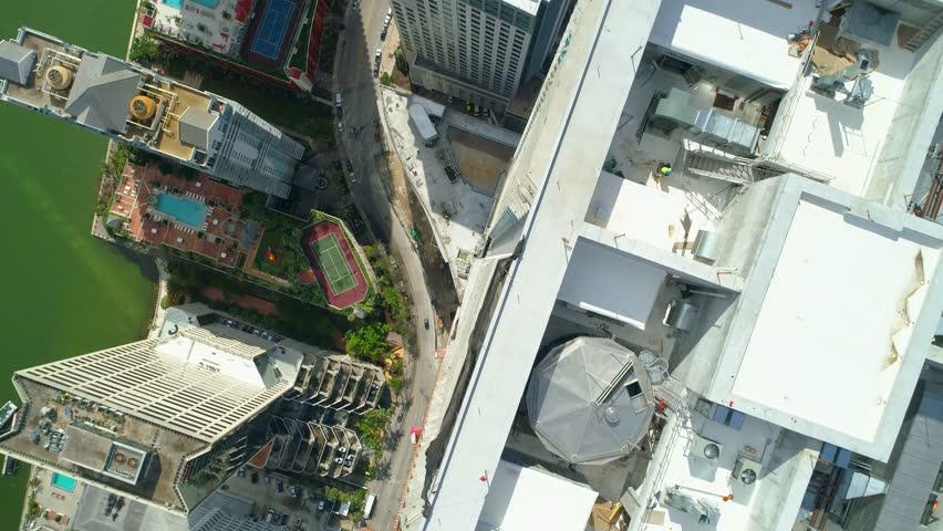 Aerial drone facing directly down Brickell Miami FL 4k 60p