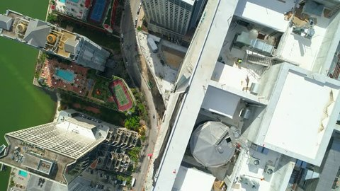 Aerial drone facing directly down Brickell Miami FL 4k 60p