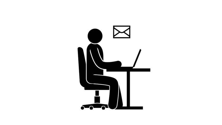 Pictogram man receives and sends emails via laptop. Looped animation with alpha channel.