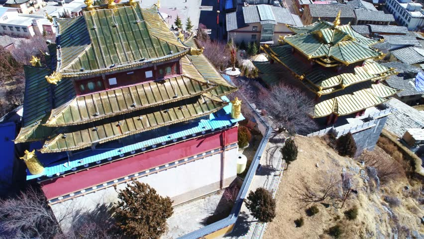 aerial view of shanglira temple in yunnan in blue sky #33276832