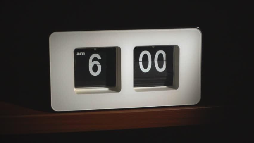 Flip clock mechanism. 6-00 AM. Super slow motion 240 fps.