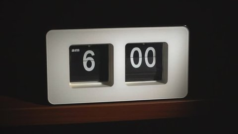 Flip clock mechanism. 6-00 AM. Super slow motion 240 fps.