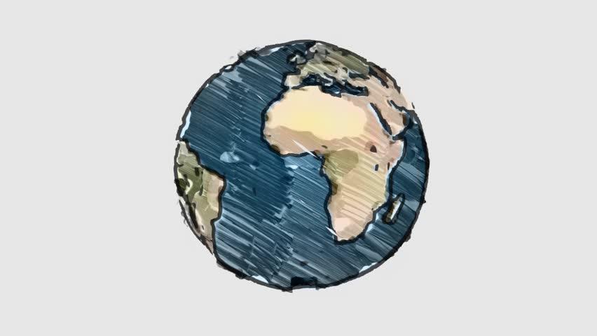 cartoon marker drawn planet earth globe spin on white blackboard background seamless endless loop animation - new quality unique handmade retro vintage stop motion dynamic joyful video