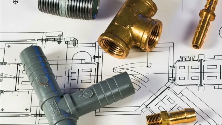 Blueprint and plumbing items | Shutterstock HD Video #3330671