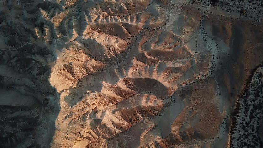 Aerial view of the amazing mountains in the Israeli Negev