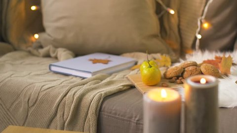 cozy home concept - book, autumn leaves, nuts and oatmeal cookies on sofa