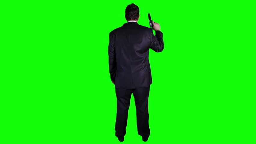 Bodyguard Full Body GreenScreen 3 The gun is illustration.Airsoft Colt M1991A1. Green screen and is keyed out.The bg is pure green removing the green is easy.Green spills are removed.