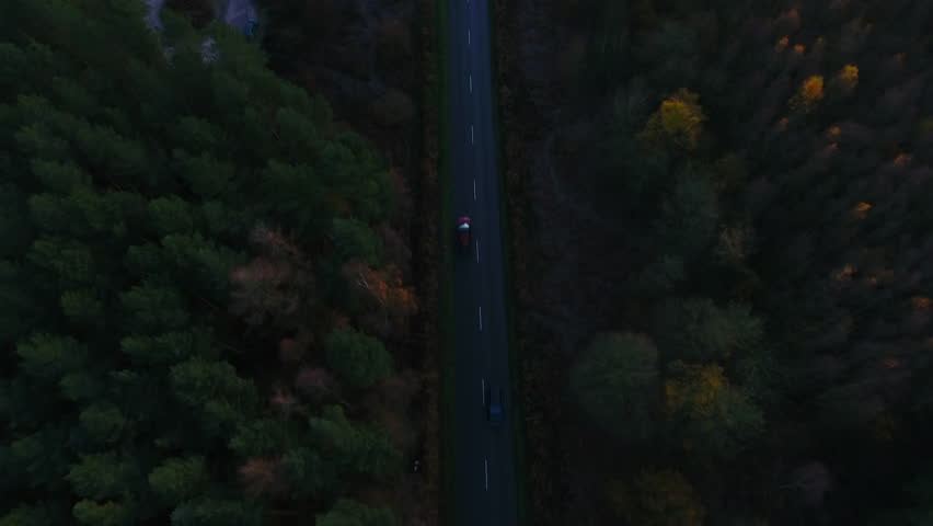Arial view of cars and trucks driving on road through a Pine tree forest in Europe on Winter Morning