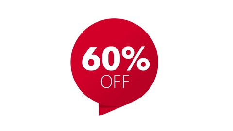 Red Animated 50, 10, 20, 30, 40, 60, 70, 25, 75 percent OFF discount icon. Sale banner with special offer.