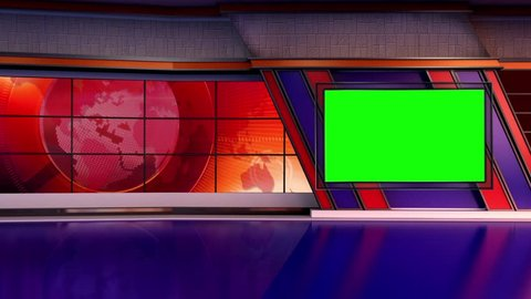Orange colored rotating globe in background window for News best TV Program seamless loopable HD Video