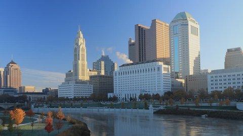 Columbus, Ohio timelapse scene of the city center 4K