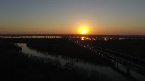 Atchafalaya Louisiana Sunset aerial video