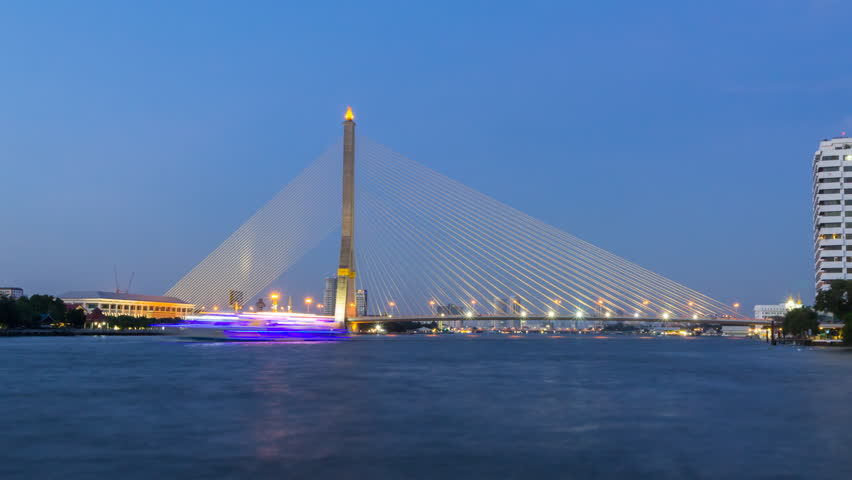 Zoom in Time lapse of Big Suspension bridge with lighting in sunset time / Rama 8 bridge in sunset time