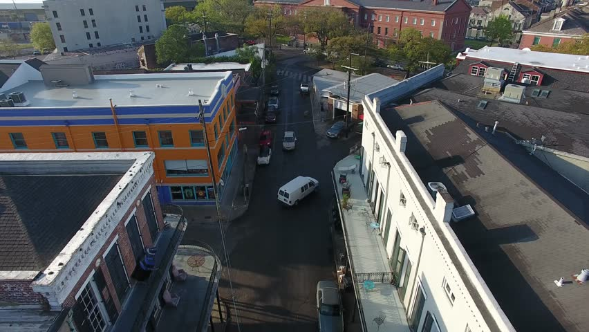 New Orleans Louisiana street aerial views, high & low