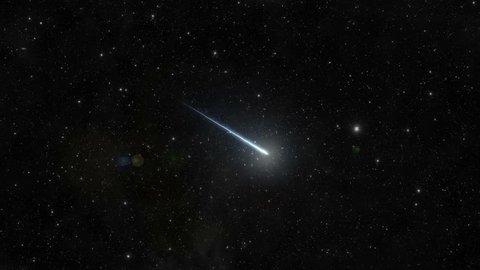A meteor, or shooting star, illuminates the sky