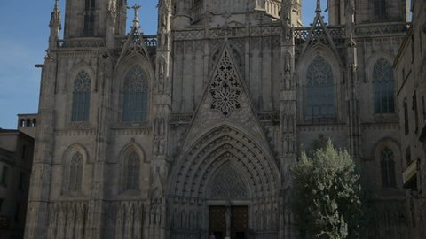 Barcelona Cathedral, Barri Gothic Quarter - Busy City Scenic on May 10th 2017 in Barcelona Spain