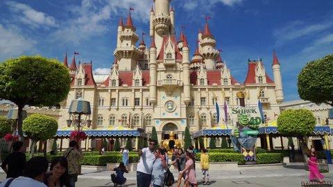 Singapore - November 28, 2017: Video footage of Shrek castle in the theme park of Universal Studios Singapore