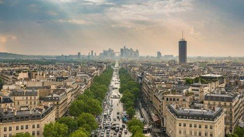Paris city skyline timelapse at La Defrense and Champs Elysees view from Arc de Triomphe, Paris, France 4K Time lapse