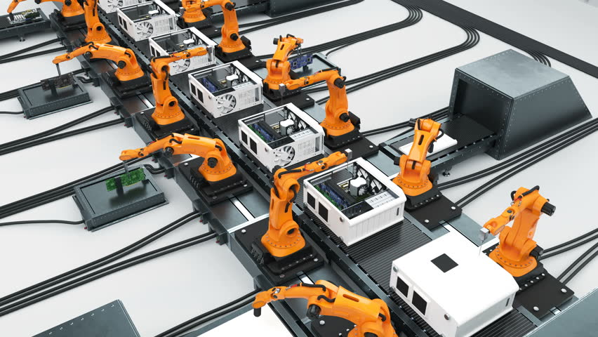 Many Robotic Arms Assembling Computers On Conveyor Belt. Modern Advanced Automated Process. Looped 3d Animation. Business and Technology Concept. 4k UHD 3840x2160.