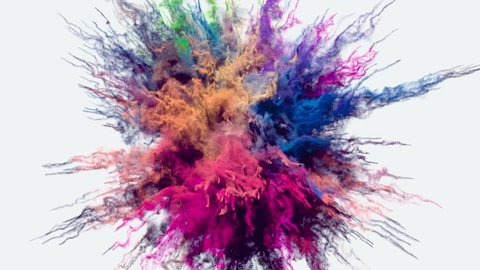Animation of a colored explosion of a powder. 3D rendering.
