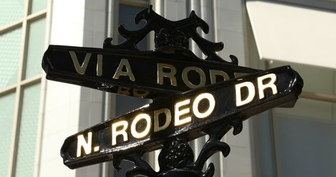 Rodeo Drive road marker in the Beverly Hills shopping district of Los Angeles California USA