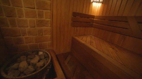 Finnish wooden sauna in the spa center