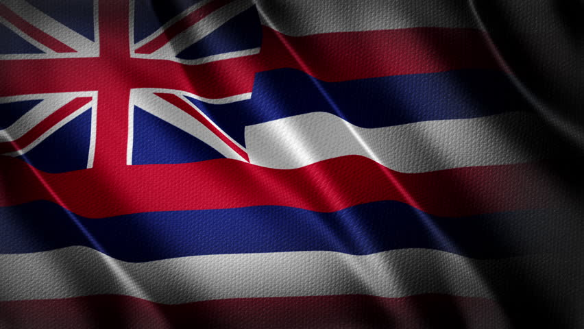 Hawaii flag animation stock footage. Hawaii flag waving in the breeze with cotton texture and in close up.