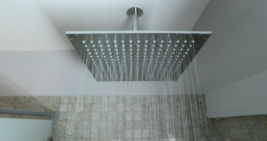 Shower Head - Rainfall Showerhead With Open Running Water Closeup ...