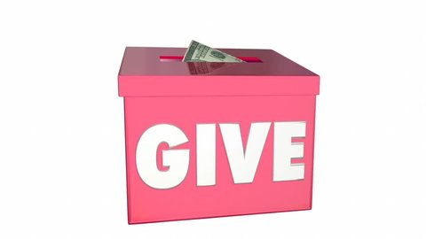 Give Money Collection Donation Box Charity 3d Animation