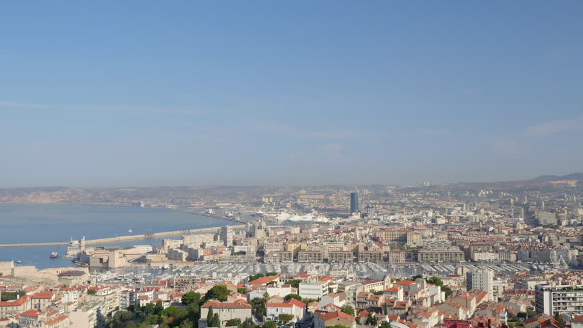 Timelapse video with zooming in motion of aerial view of Marseille and Vieux Port, Provence, France