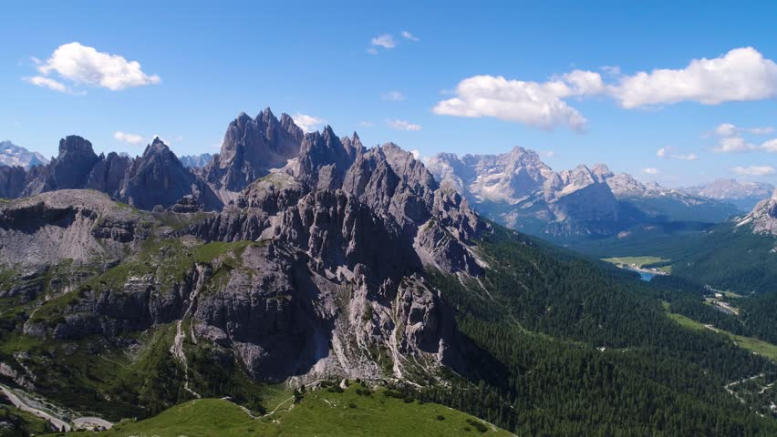 National Nature Park Tre Cime In the Dolomites Alps. Beautiful nature of Italy. Aerial FPV drone flights   Shutterstock HD Video #33557122