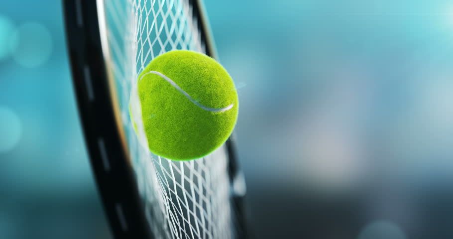 Great hit tennis, the racket hit the tennis ball, in a super slow-motion ultra detailed 3d animation