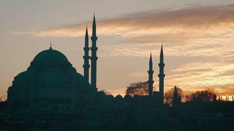 Suleymaniye Mosque At Sunset, Istanbul, Turkey