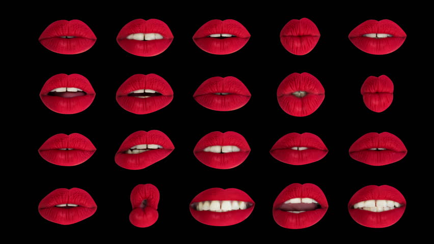 Sequence of different images of woman's beautiful full red lips