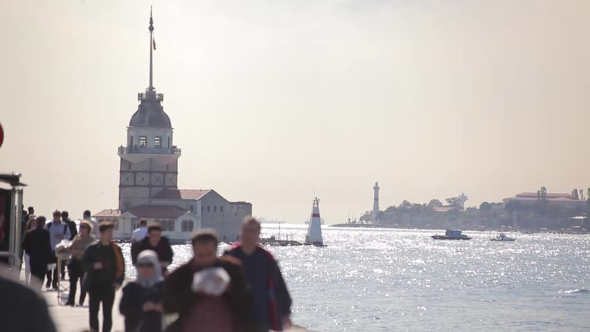 View of Maiden's Tower and Bosphorus in Istanbul/Turkey