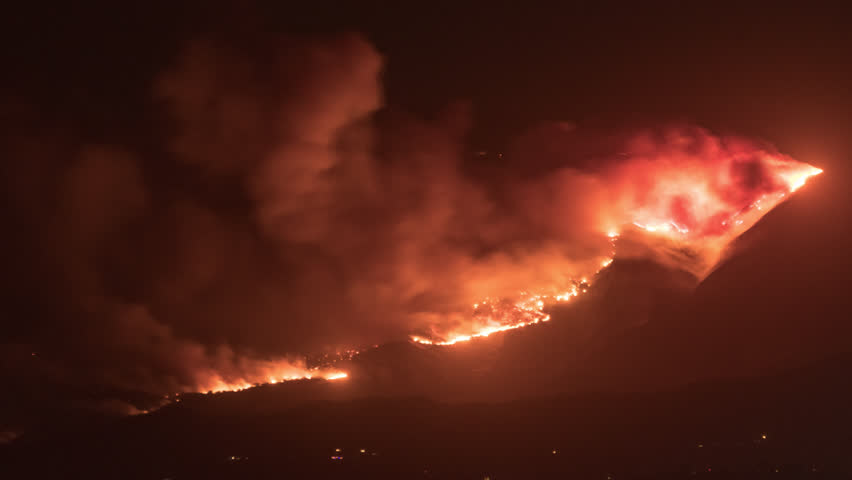 California Wildfires Time Lapse nighttime Fiery Cloud Set of 5 4K from a 5K source 4444 Ojai, Ventura, Thomas Fires | Shutterstock HD Video #33679402