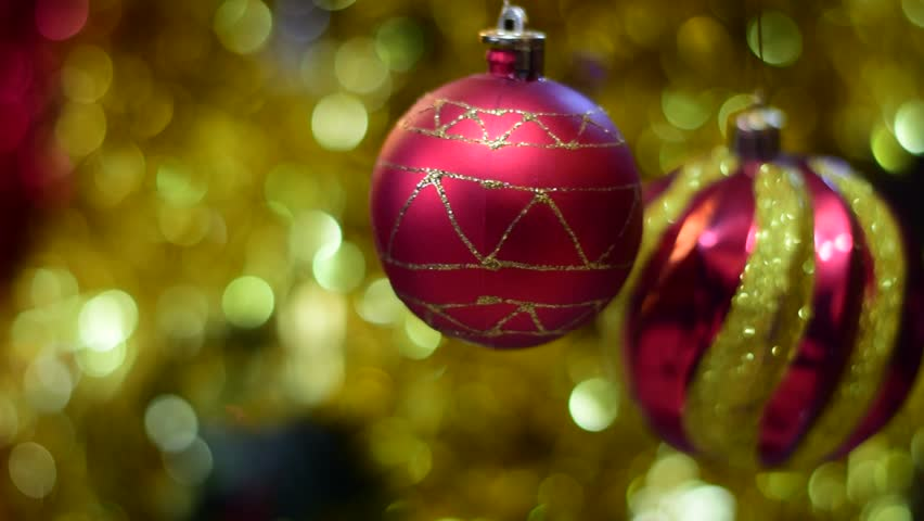Glowing red christmas balls | Shutterstock HD Video #33702802