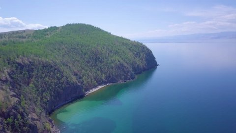 ProRes. Baikal lake shore and rocks from aerial view. Landscape.