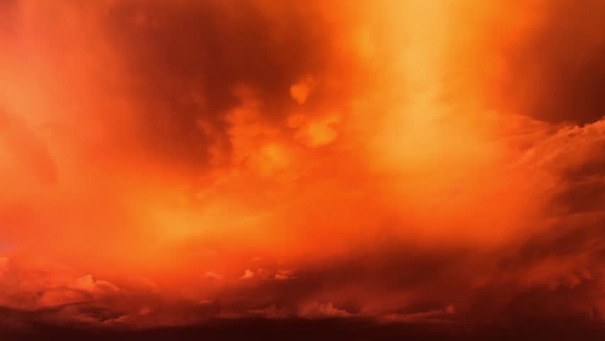 Burn clouds. Time Lapse, Rain shafts emitted from enormous cloud mass dump rain on fiery setting sun, sweep across palm desert landscape, create beautiful sunset scenic,. 1080p