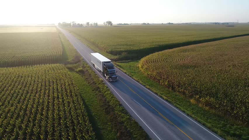 Aerial Video of Semi Truck driving