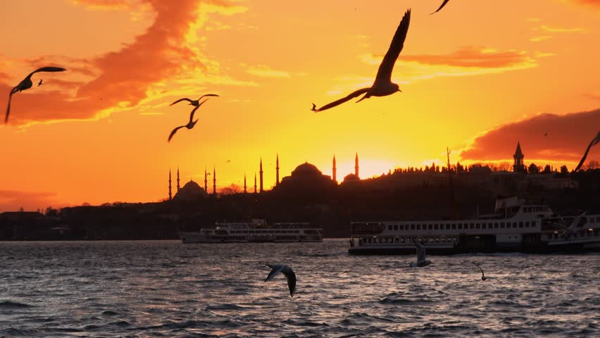 istanbul silhouette 4K sunset zoom out Hagia Sophia, Blue Mosque, Topkapi Palace, Maiden's tower and beautiful sunset istanbul bacround. Turkey Cityscape