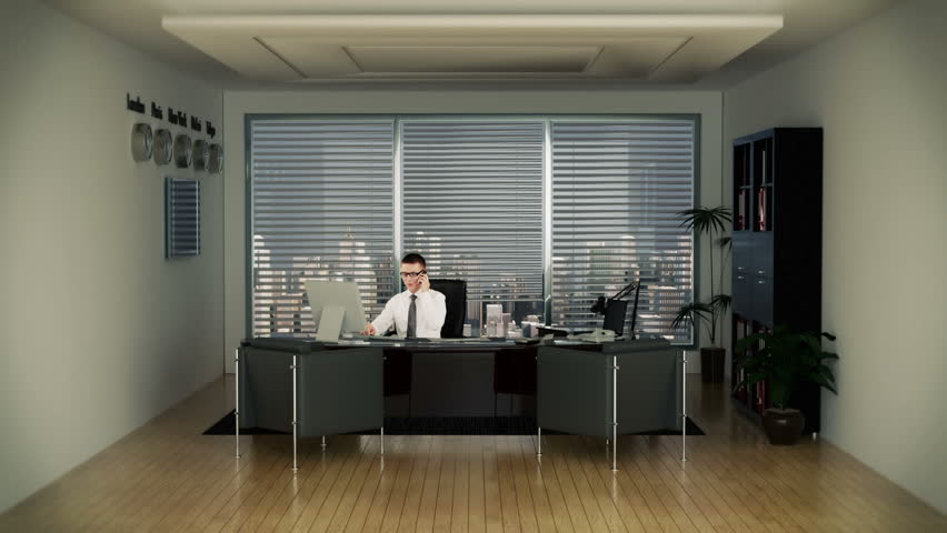Businessman In Office Writing On A Clipboard With Skyscrapers In