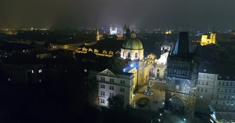 Night panorama of Prague, panoramic view from the air to the Old Town, Prague streets, Night Prague, traffic of cars, lights of the night city, Prague, October 20, 2017